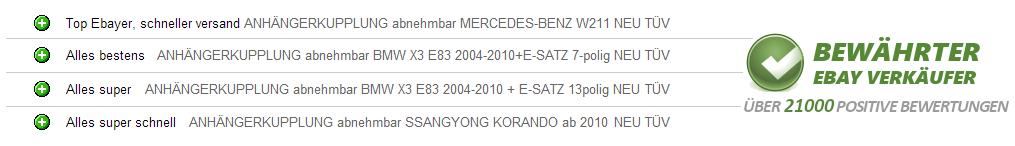 Anhängerkupplung starr Für Mercedes S211 KOMBI E 2003-2009 E-SATZ 13-polig NEU